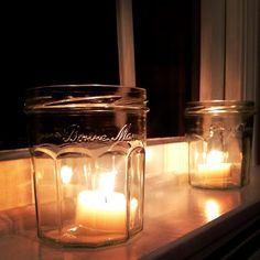 Bonne Maman jars as votives Mason Jars, Candle Holders, Farmhouse, Candles, Homemade, Crafty, Future, Kitchen, Diy