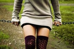 oversized sweaters and mini skirts