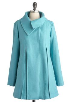 Sky Capers Coat - Long, Blue, Solid, Pockets, Casual, Long Sleeve, Vintage Inspired, 50s, Fall, Pastel, 4, Mod