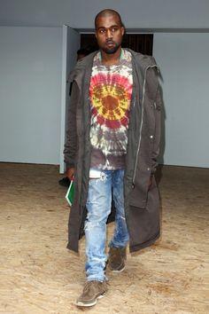 Kanye West Attends Celine Show Wearing Rick Owens DRKSHDW Parka Coat and Visvim Sneakers   UpscaleHype