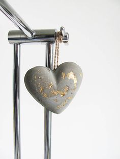 Hanging Concrete Gold Leaf Heart Home and Living Home Decor