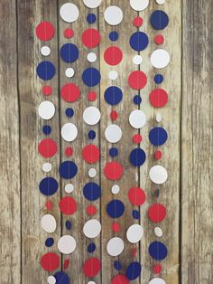 red white blue garland Snow White party patriotic decor