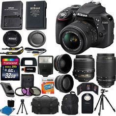 Nikon D3300 Black DSLR Camera w/ 18-55mm VR + 70-300mm + 32GB Top Value Bundle - EXCLUSIVE DEAL! BUY NOW ONLY $589.95