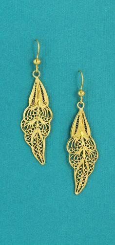 Vermeil Leaf Filigree Dangle Earrings