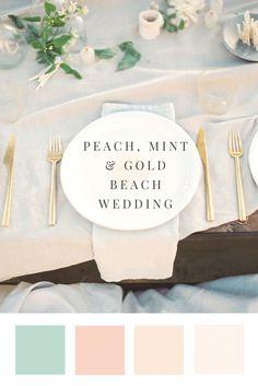 Beach Wedding - Peach, Mint & Gold Color Palette