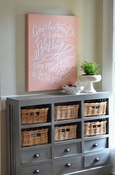Nester entry: for Anne, a perfect anniversary present she should get for herself. Interior Decorating Tips, Decorating On A Budget, Interior Design, Dresser Storage, Entryway Dresser, Grey Dresser, Shoe Storage, Welcome Summer, My New Room
