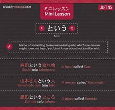 ミニレッスン : To Tell How Something is Called in Japanese