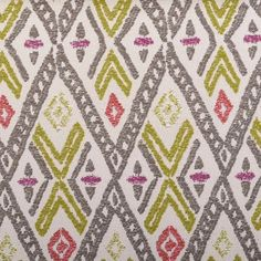 Fuchsia and Grey Woven Ikat Upholstery Fabric by PopDecorFabrics