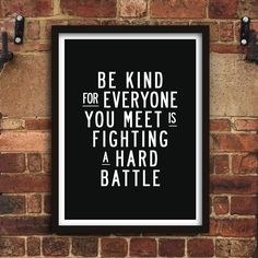 Be Kind Inspirational Print Home Decor Typography Poster Wall Art