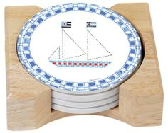 CounterArt Nautical Design Absorbent Coasters in Wooden Holder, Set of 4 by Counter Art. $13.37. Set of 4 absorbent coasters in wooden display holder. To remove coaster stains, soak coaster in 1 part household bleach and 3 parts water until stain lifts, then rinse and air dry. Holder is made of durable rubberwood with a clear varnish finish. Coasters are natural stoneware with decorative transfer print. Beautiful, colorful design meets high functionality with this coa...