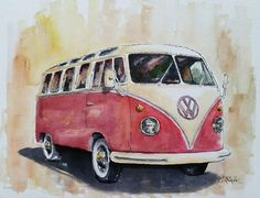 Vintage v w bus original watercolor painting by billsartshop watercolor car coccinelle vw lady bug voiture aquarelle Arches Watercolor Paper, Watercolor Portraits, Watercolor Paintings, Volkswagen, Car Drawings, Car Painting, Canvas Wall Art, Car Tattoos, Shop Art