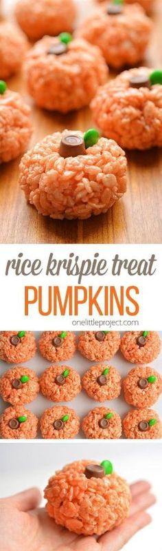 These rice krispie treat pumpkins are ADORABLE and they're really easy to make! … These rice krispie treat pumpkins are ADORABLE and they're really easy to make! They'd be perfect for a Halloween party snack, or even Thanksgiving! Halloween Desserts, Hallowen Food, Halloween Party Snacks, Snacks Für Party, Halloween Food For Party, Holiday Desserts, Holiday Baking, Holiday Treats, Halloween Pumpkins