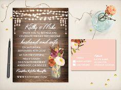Wedding Invitation Rustic Wood Fall Flowers by VintageBellsAndCo