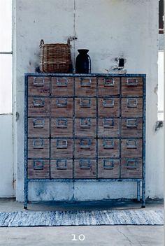 Cajonera industrial de madera :: Tiendas de decoracion | Decoracion rustica | Decoración online