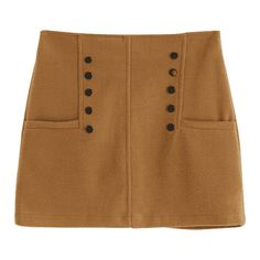 Studded A Line Wool Blend Skirt Brown S ($21) ❤ liked on Polyvore featuring skirts