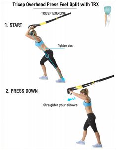 Tricep Overhead Press Feet Split with TRX