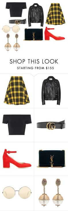 """Sin título #1983"" by ceciamuedo ❤ liked on Polyvore featuring Miu Miu, Acne Studios, Helmut Lang, Gucci, Gianvito Rossi, Yves Saint Laurent, Victoria Beckham and Oscar de la Renta"