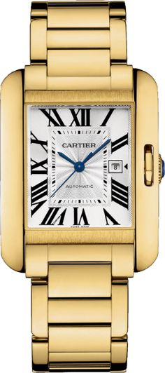 Tank Anglaise watch Large model, 18K yellow gold; 33700; automatic