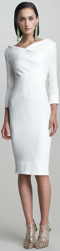 #Oscar de la Renta #Crimped Cotton Dress #Neiman Marcus