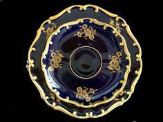 Echt Kobalt Saucer and Side / Salad Plate, Vintage Graf Von Henneberg Poreclain- No Teacup Plates Only
