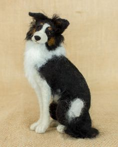 Rover the Border Collie: Needle felted animal sculpture by The Woolen Wagon