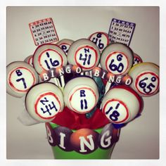 Bingo Ball Cake Pops. Bingo night treats!!!