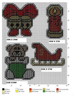 CHRISTMAS ORNAMENTS by TDL *BELLS WITH BOW, LIT CANDLE, TEDDY IN A STOCKING & SLEIGH* Plastic Canvas Coasters, Plastic Canvas Ornaments, Plastic Canvas Crafts, Plastic Canvas Patterns, Cross Stitch Kits, Cross Stitch Patterns, Christmas Crafts, Christmas Ornaments, Christmas Patterns