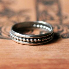 Silver wedding band silver beaded ring modern by metalicious