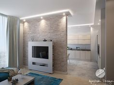 Living Room Modern, Living Rooms, Modern Interior, Interior Design, Brick Wall, Tiny House, Construction, Modern Homes, Tv