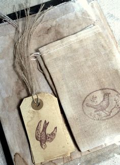 Antiqued Tags, Cloth Bags and Sandwich Bags - Stamped * Birds * Rustic * Primitive Favor Bags, Gift Bags, Vintage Packaging, Pretty Packaging, Sisal Twine, Clothing Packaging, Bread Bags, Scented Sachets, Sandwich Bags