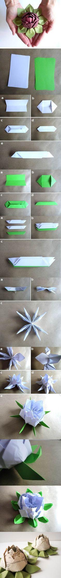 Origami Papier Rose ~ Anleitung