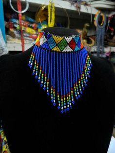 African Maasai Beaded Choker Necklace, African Choker, Multicolored Necklace, One Size Fits All, Gif African Beads Necklace, Beaded Choker Necklace, Fabric Necklace, African Jewelry, Fringe Necklace, Xhosa Attire, African Attire, African Fashion Dresses, African Wear