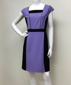 Look at this #zulilyfind! Light Purple & Black Color Block Cap-Sleeve Dress #zulilyfinds. Only in one size?
