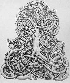 Looks like tree of life with dragon. Viking style tattoo