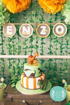 Orange and Green Dinosaur Birthday Party with Such Darling Ideas via Kara's Party Ideas KarasPartyIdeas.com #dinosaurparty #boyparty #dinosa...