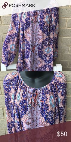 Lucky brand top Very cute light weight summery blouse with beautiful colors . Fabric is rayon Lucky Brand Tops Blouses