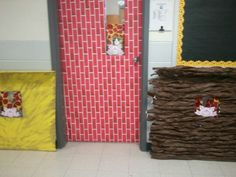 Used cardboard boxes and our classroom door for the 3 little pigs unit . apple fabric for curtains from Wal-Mart Classroom Door, Classroom Ideas, Curtain Fabric, Curtains, Used Cardboard Boxes, Preschool Rooms, Stars Play, Three Little Pigs, 3 Things