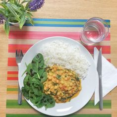 Today's lunch  my favourite vegan dish: creamy coconut chickpea curry with spinach and basmati rice  love it   #chickpea #curry #coconutmilk #coconut #basmatirice #spinach  #food #instafood #foodie #foodgram