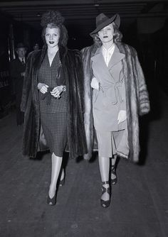 With Rita Hayworth, wife of Orson Welles. Marlene liked Rita, though she knew the marriage with Orson was doomed.