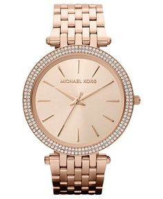 Women's Rose Gold-Tone Michael Kors Darci Crystallized Watch MK3192