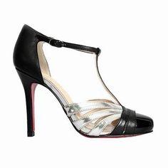 2f7a799ecd63 Christian Louboutin Shoes Gino 100 T Bar Sandals Sliver Black