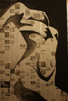 contrast,  paint on newspaper