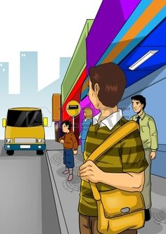 Illustration of people waiting a bus at bus stop