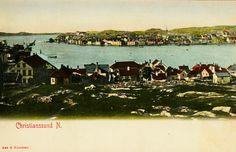 Møre og Romsdal fylke Kristiansund CHRISTIANSSUND N. Kolorert. Næroversikt fra stedet med fjorden. Utg Aas & Knudsen Ubrukt 1904