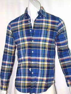 Polo Ralph Lauren plaid oxford men's shirt size x small  trim fit NEW on SALE  #poloralphlauren #ButtonFront