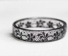 Black Lace Resin Bangle Bracelet Vintage French Lace by daimblond