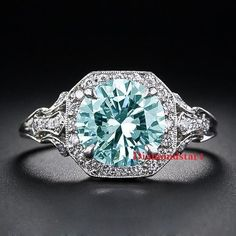 2.35 Ct Genuine Blue Moissanite Art Deco Engagement rings 925 Sterling Silver #Diamondstar1 #SolitairewithAccents