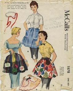 Vintage Apron Sewing Pattern   McCall's 1878   Year 1954   One Size