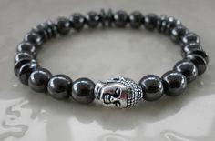 Magnetic Hematite Gemstone Buddha Bracelet. by MECODesignsJewelry, $25.00