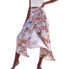 New Bohemian Womens Ladies Floral Printed Party Long Skirt Summer Female High Waist Front Wrapped Beach Holiday Vestido #Affiliate